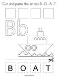 Cut and paste the letters B-O-A-T. Coloring Page