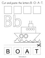 Cut and paste the letters B-O-A-T Coloring Page