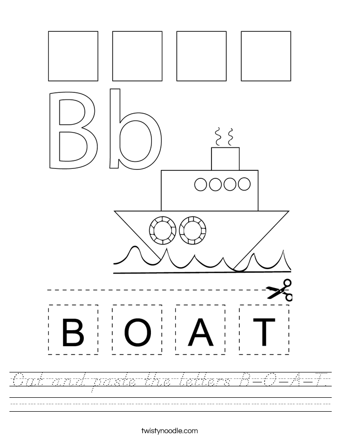 Cut and paste the letters B-O-A-T. Worksheet
