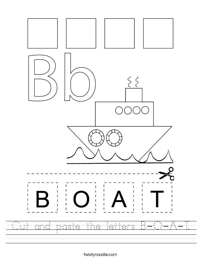 cut-and-paste-the-letters-b-o-a-t_worksheet T Worksheet Cut And Paste on fall color, body parts, shape matching, for kids, farm animals,