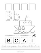 Cut and paste the letters B-O-A-T Handwriting Sheet