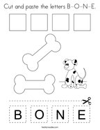 Cut and paste the letters B-O-N-E Coloring Page