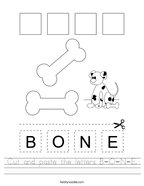Cut and paste the letters B-O-N-E Handwriting Sheet