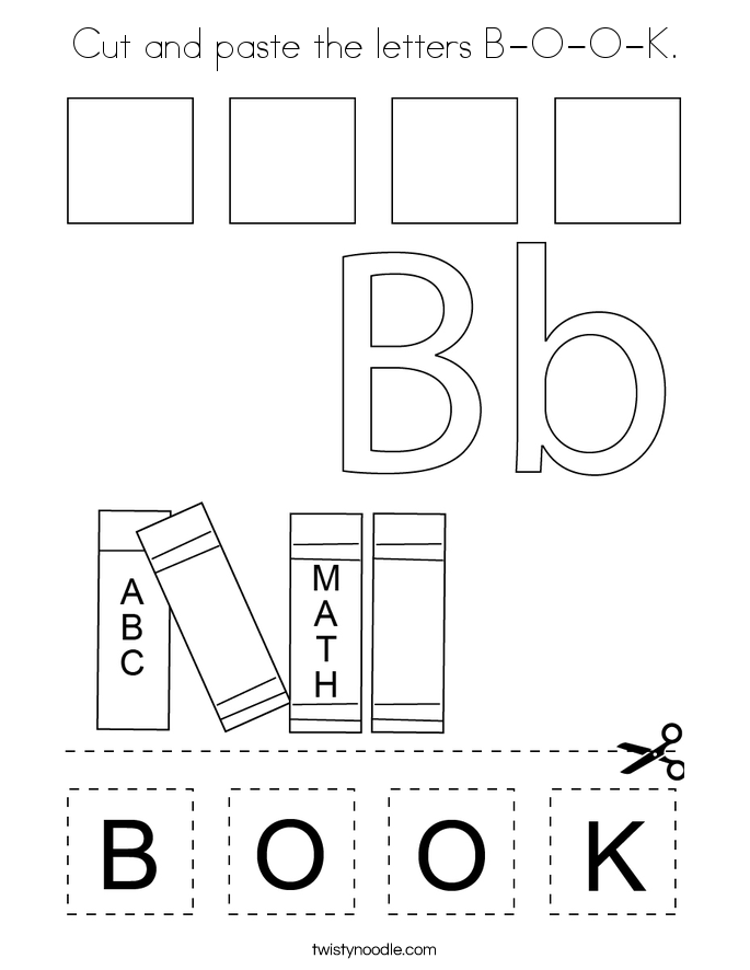 Cut and paste the letters B-O-O-K. Coloring Page
