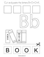 Cut and paste the letters B-O-O-K Coloring Page