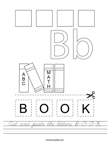 Cut and paste the letters B-O-O-K. Worksheet
