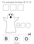 Cut and paste the letters B-O-O Coloring Page