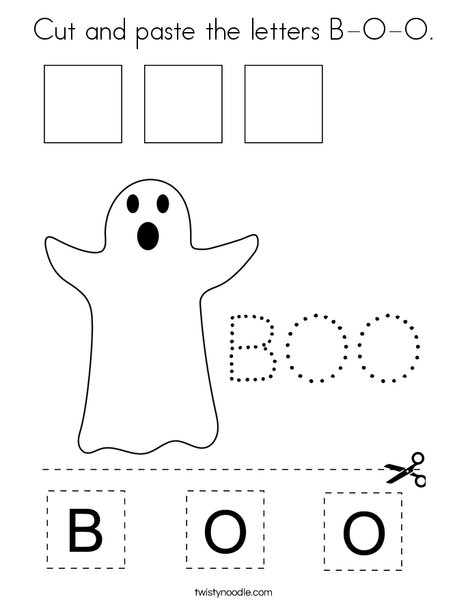 Cut and paste the letters B-O-O. Coloring Page