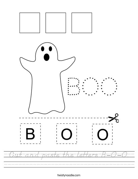 Cut and paste the letters B-O-O. Worksheet