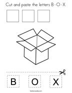 Cut and paste the letters B-O-X Coloring Page