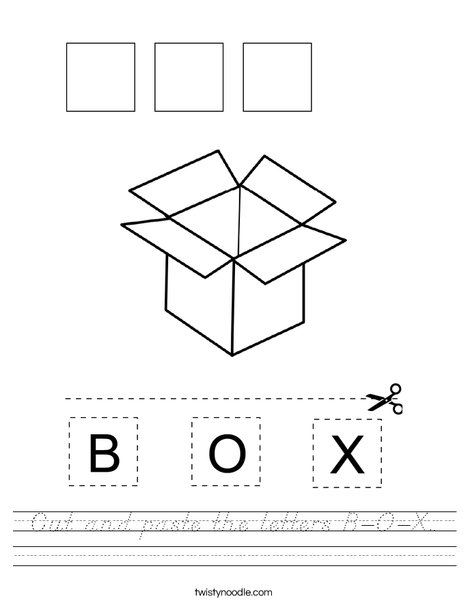 Cut and paste the letters B-O-X. Worksheet
