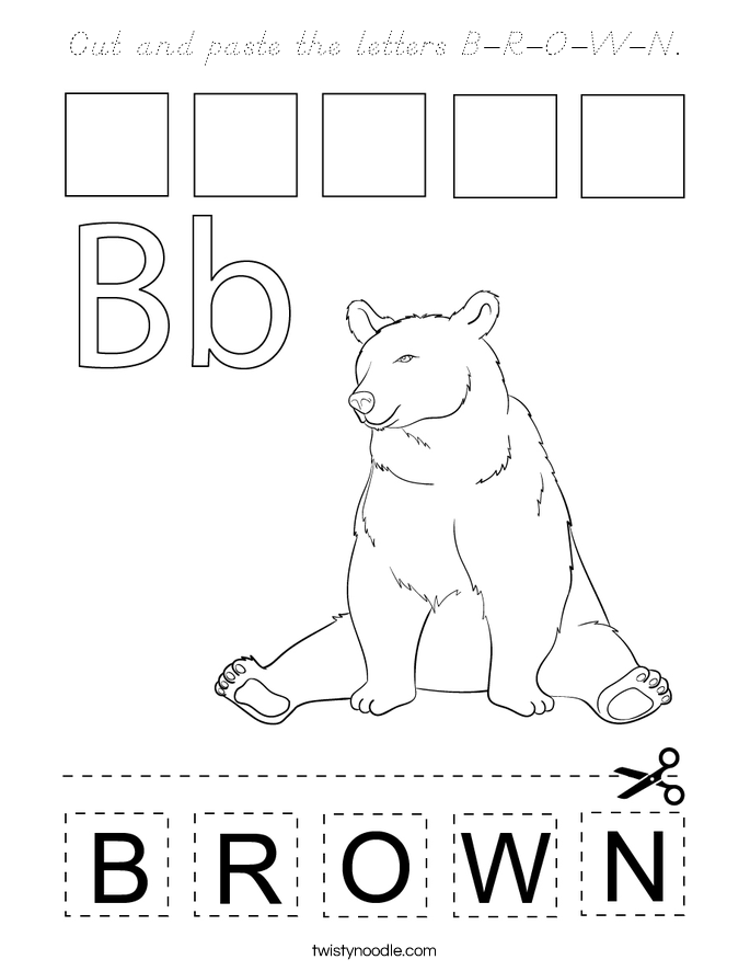 Cut and paste the letters B-R-O-W-N. Coloring Page