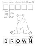 Cut and paste the letters B-R-O-W-N Coloring Page