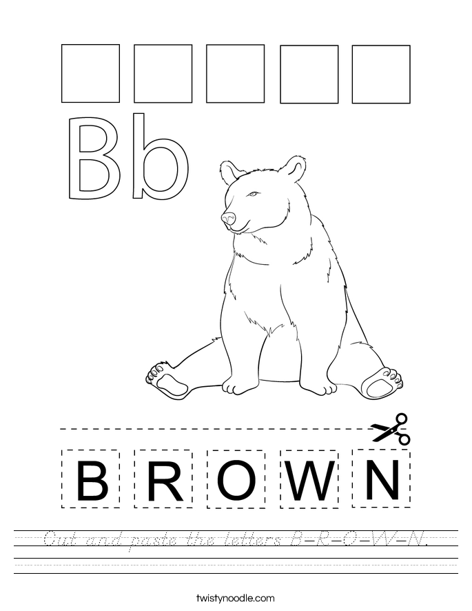 Cut and paste the letters B-R-O-W-N. Worksheet