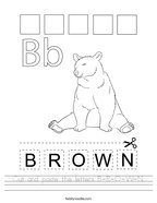 Cut and paste the letters B-R-O-W-N Handwriting Sheet