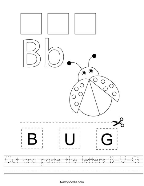 Cut and paste the letters B-U-G. Worksheet