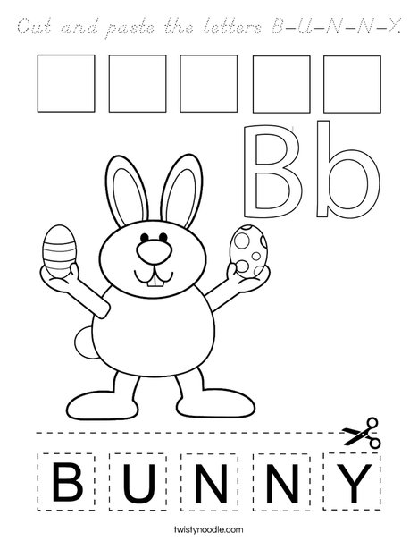 Cut and paste the letters B-U-N-N-Y. Coloring Page