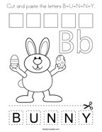 Cut and paste the letters B-U-N-N-Y Coloring Page