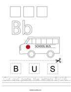 Cut and paste the letters B-U-S Handwriting Sheet