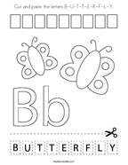 Cut and paste the letters B-U-T-T-E-R-F-L-Y Coloring Page