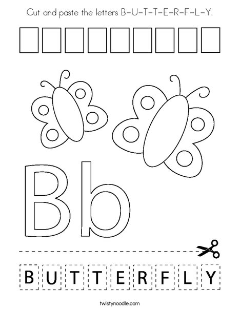 Cut and paste the letters B-U-T-T-E-R-F-L-Y. Coloring Page