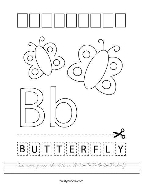 Cut and paste the letters B-U-T-T-E-R-F-L-Y. Worksheet
