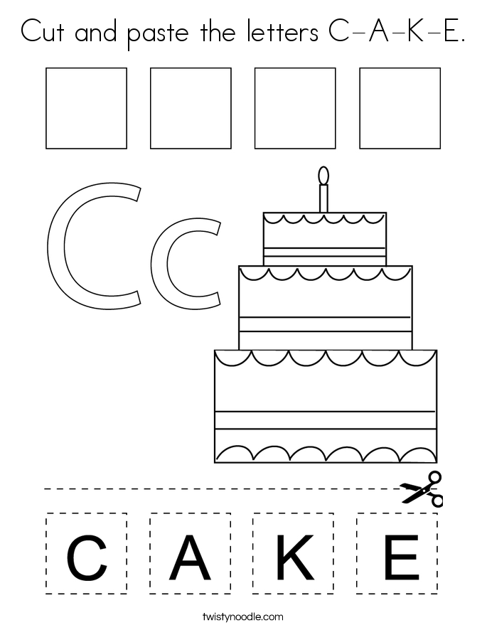 Cut and paste the letters C-A-K-E. Coloring Page