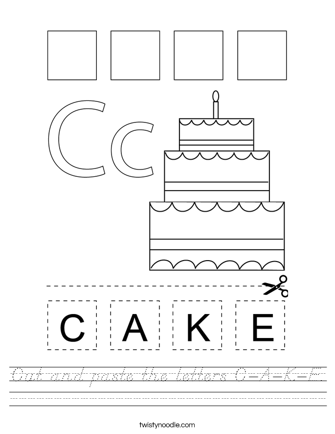Cut and paste the letters C-A-K-E. Worksheet