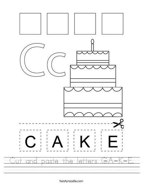 cut and paste the letters c a k e worksheet twisty noodle. Black Bedroom Furniture Sets. Home Design Ideas