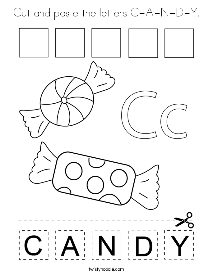 Cut and paste the letters C-A-N-D-Y. Coloring Page