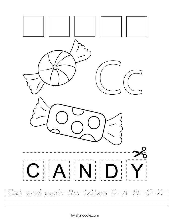 Cut and paste the letters C-A-N-D-Y. Worksheet