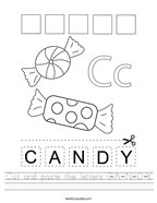 Cut and paste the letters C-A-N-D-Y Handwriting Sheet