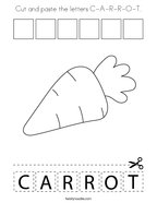 Cut and paste the letters C-A-R-R-O-T Coloring Page