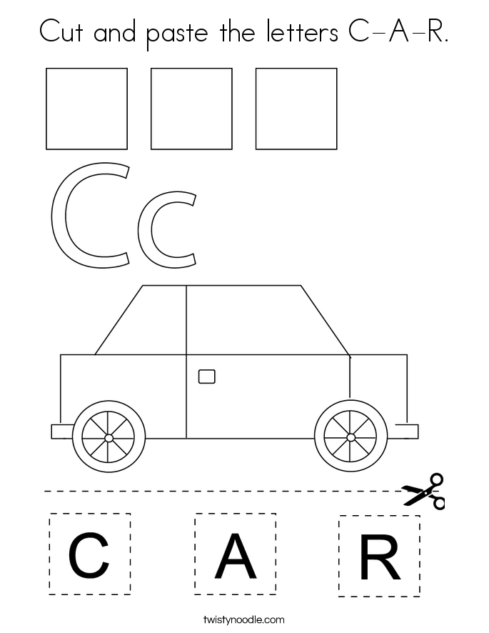 Cut and paste the letters C-A-R. Coloring Page