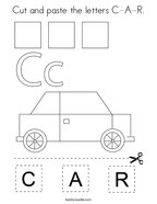 Cut and paste the letters C-A-R Coloring Page