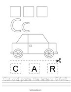 Cut and paste the letters C-A-R Handwriting Sheet
