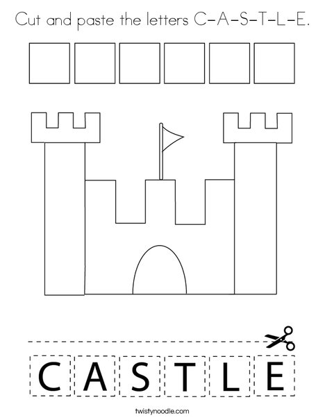 Cut and paste the letters C-A-S-T-L-E. Coloring Page