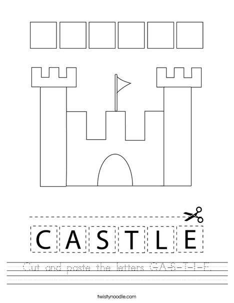 Cut and paste the letters C-A-S-T-L-E. Worksheet