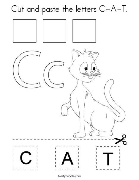 Cut and paste the letters C-A-T. Coloring Page