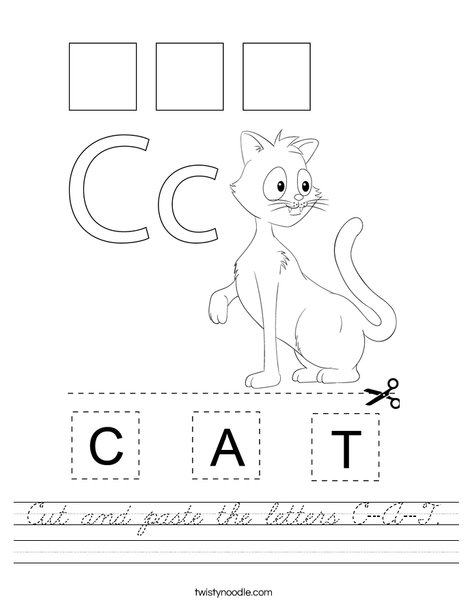 Cut and paste the letters C-A-T. Worksheet