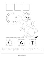 Cut and paste the letters C-A-T Handwriting Sheet