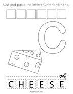 Cut and paste the letters C-H-E-E-S-E Coloring Page