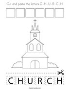 Cut and paste the letters C-H-U-R-C-H Coloring Page