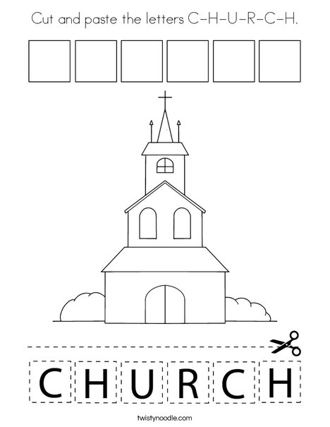 Cut and paste the letters C-H-U-R-C-H. Coloring Page
