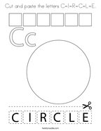 Cut and paste the letters C-I-R-C-L-E Coloring Page