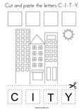 Cut and paste the letters C-I-T-Y. Coloring Page