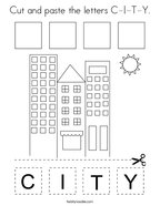 Cut and paste the letters C-I-T-Y Coloring Page