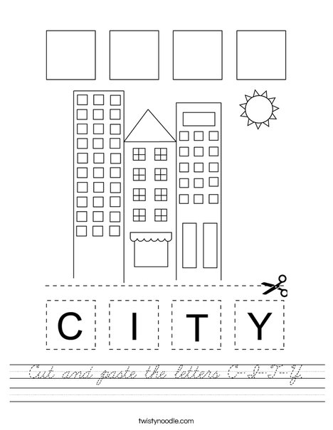 Cut and paste the letters C-I-T-Y. Worksheet