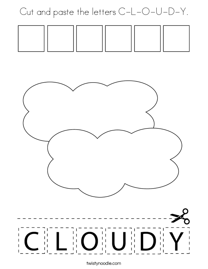 Cut and paste the letters C-L-O-U-D-Y. Coloring Page