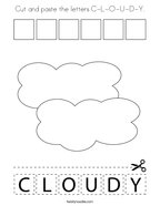 Cut and paste the letters C-L-O-U-D-Y Coloring Page